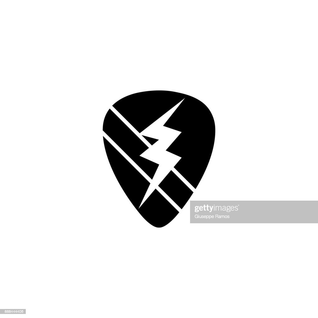 contour rock emblem with thunder symbol design