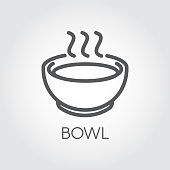 Contour simplicity icon of bowl with hot food or drink. Graphic outline label for culinary sites, books, mobile apps