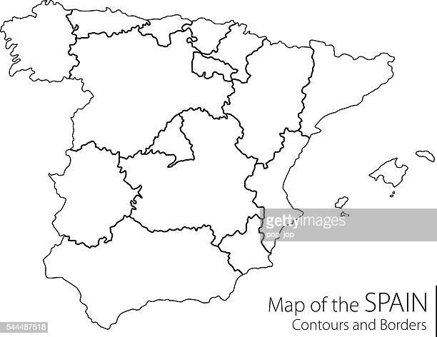 contour spain map - oviedo stock illustrations, clip art, cartoons, & icons