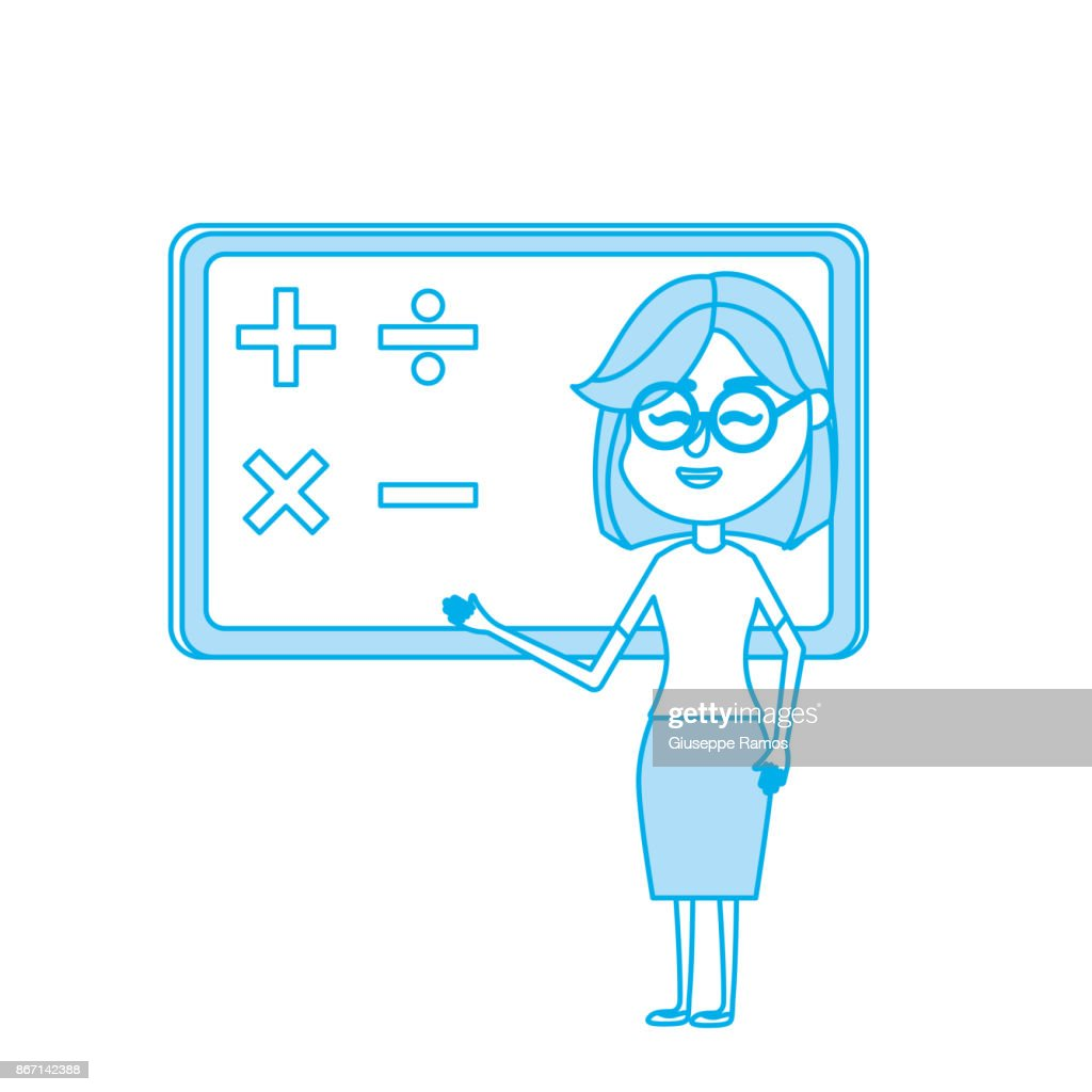 contour woman teacher teaching to the student in the blackboard