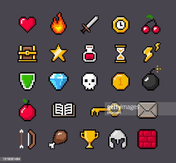 contoured pixel game icons - leisure games stock illustrations