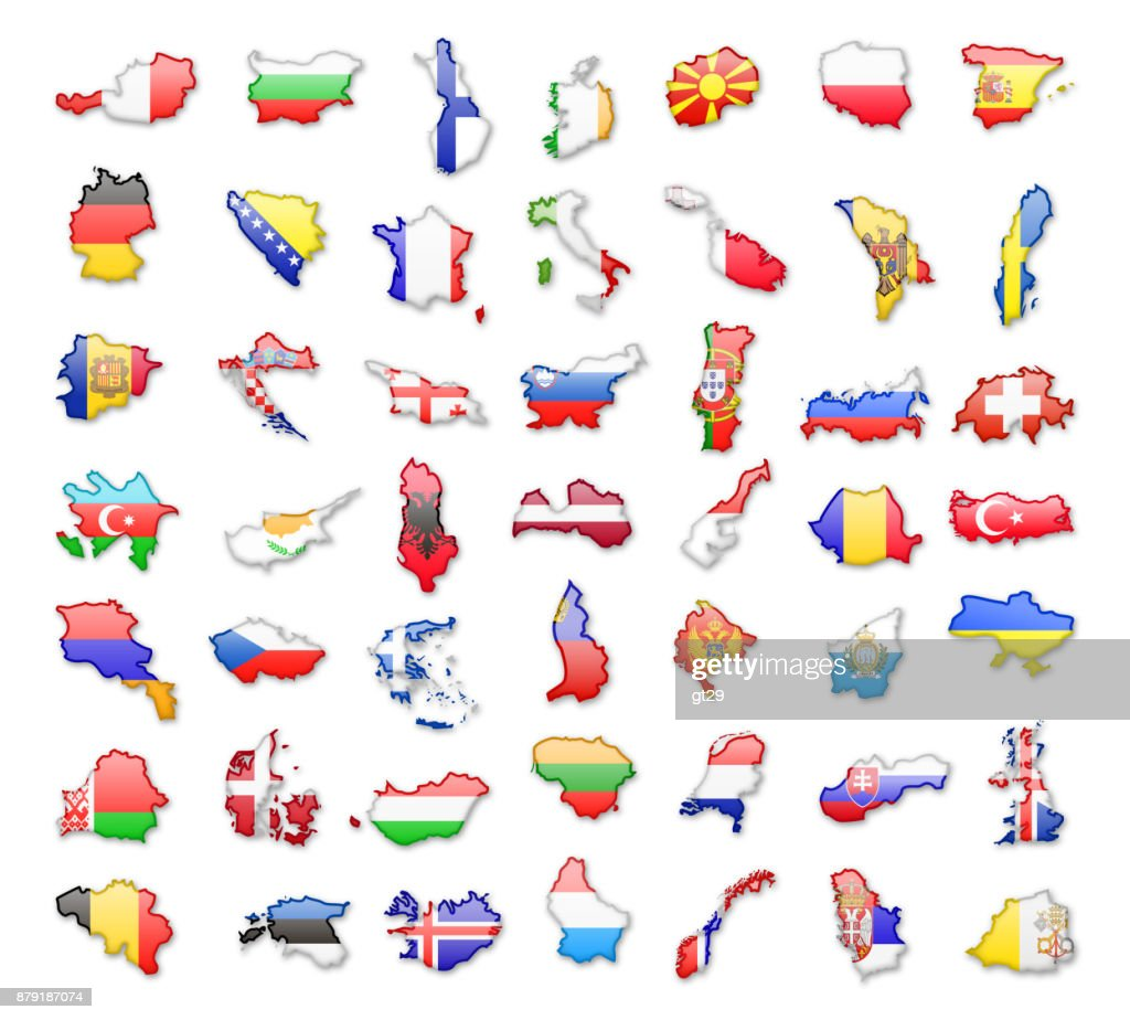 Contours of European countries with flags. Vector illustration.