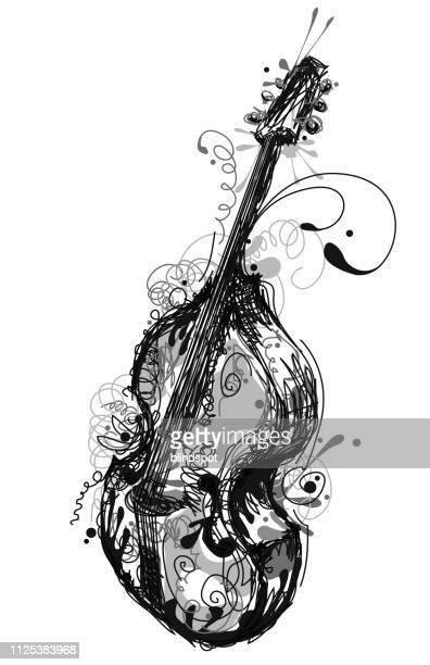 contrabass - bass instrument stock illustrations, clip art, cartoons, & icons