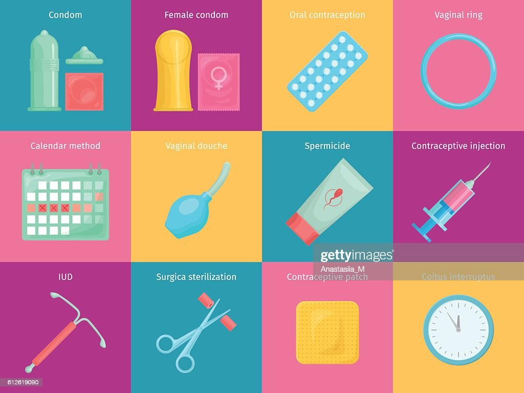 Contraception methods cartoon icons set