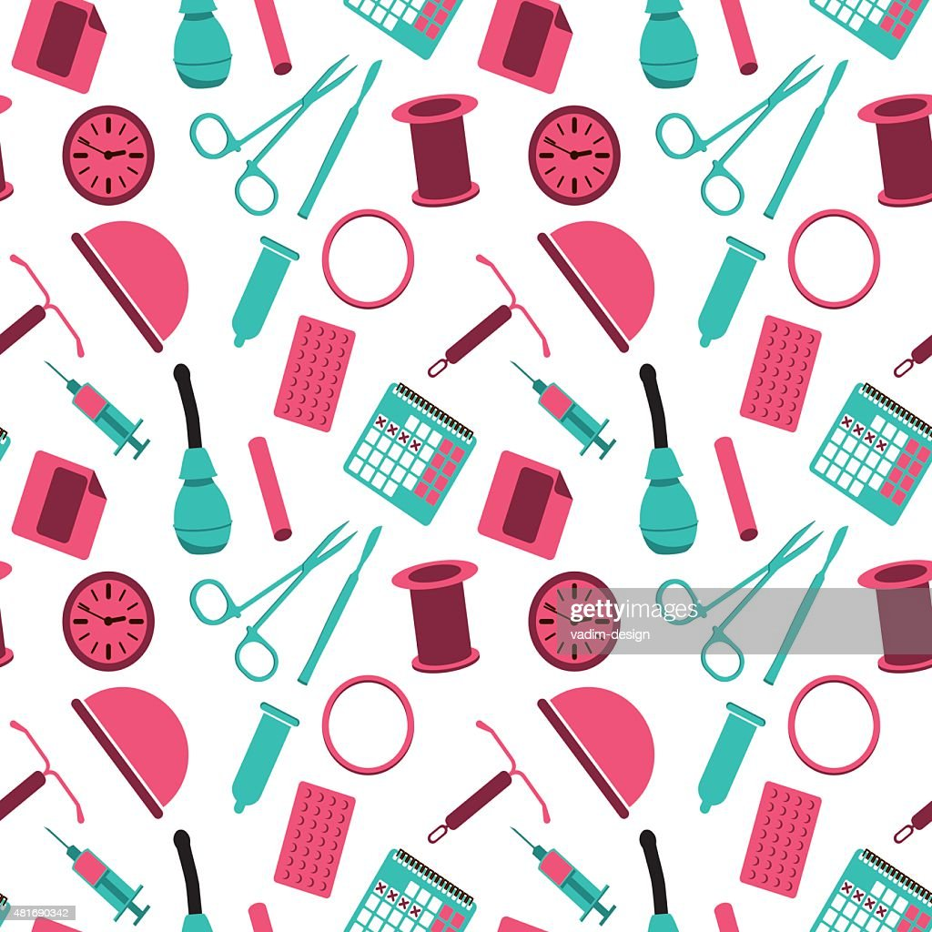 Contraception - vector seamless background