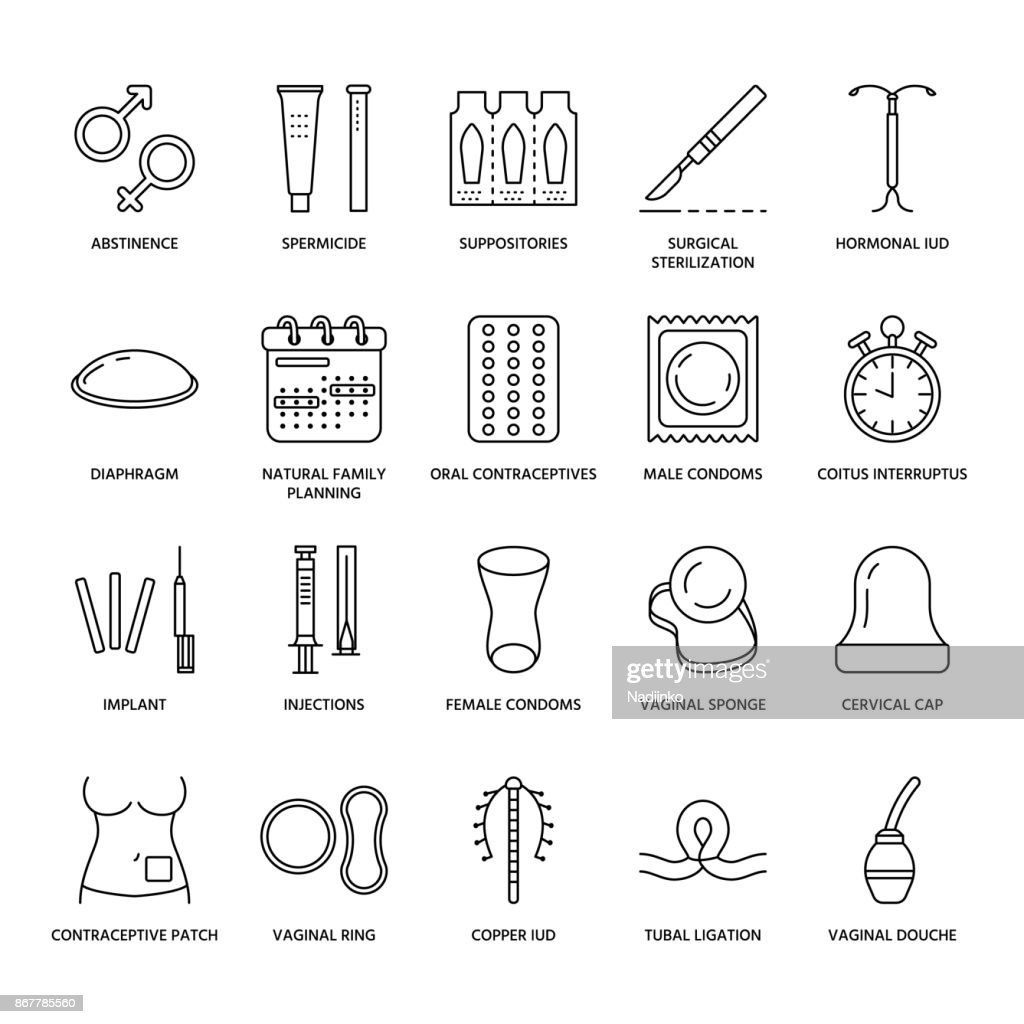Contraceptive methods line icons. Birth control equipment, condoms, oral contraceptives, iud, barrier contraception, vaginal ring, sterilization. Safe sex thin linear signs for medical clinic