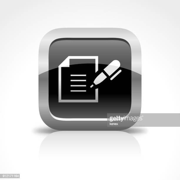 ilustrações, clipart, desenhos animados e ícones de ícone de botão brilhante de contrato e documento - formulário de pedido
