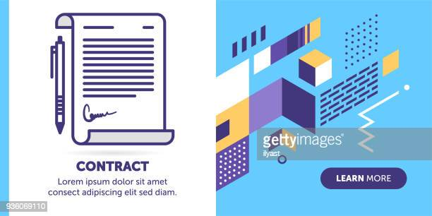 contract banner - agreement stock illustrations, clip art, cartoons, & icons