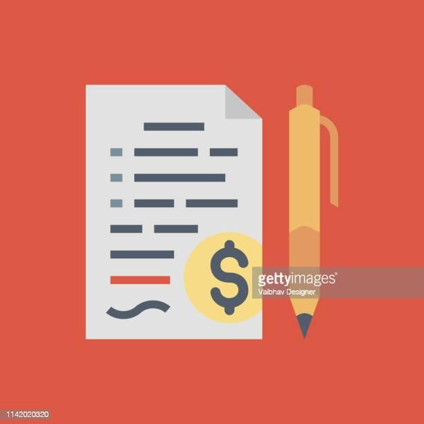 Contract, contract document met dollar teken, pen. Teken contract. Vector illustratie-illustratie