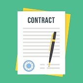 Contract document with rubber stamp, pen. Sign contract. Vector illustration