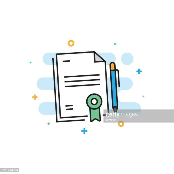 Contract Flat Line Icon