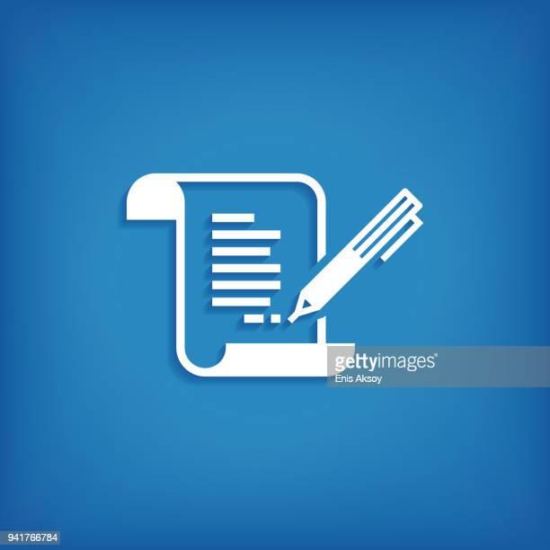 ilustrações, clipart, desenhos animados e ícones de ícone do contrato - preencher um formulário
