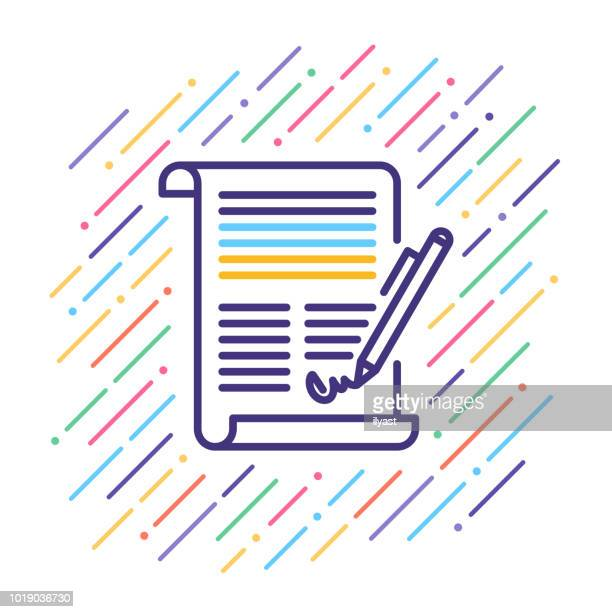 contract line icon - contract stock illustrations