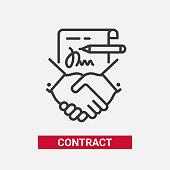 Contract - modern vector line design single icon.