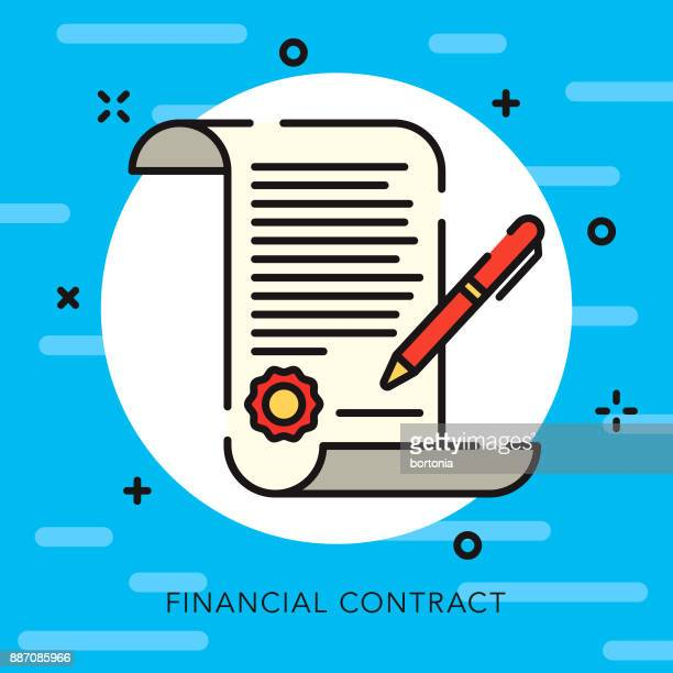 contract open outline banking & finance icon - legal document stock illustrations, clip art, cartoons, & icons