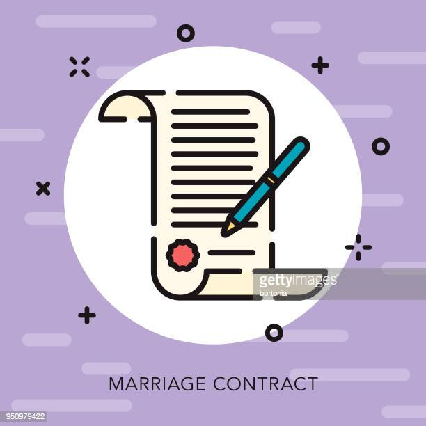 contract open outline wedding icon - legal document stock illustrations, clip art, cartoons, & icons