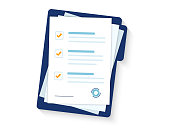 Contract papers. Document. Folder with stamp and text. Stack of agreements document with signature and approval stamp. Folder and stack of white papers