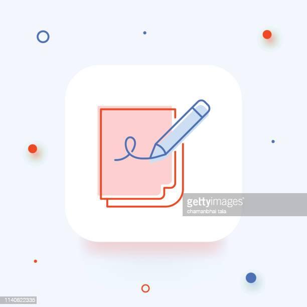 Ondertekening van het contract, document en potlood lijn icoon, schets vector teken, lineaire stijlpictogram geïsoleerd op wit. -Illustratie
