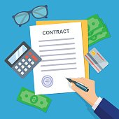 Contract signing. Workplace with papers, blanks, money, credit cards, glasses, coins, calculator.