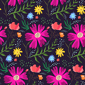 Contrast floral summer pattern of rich colors