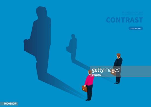 contrast of shadow size of two businessmen - contrasts stock illustrations
