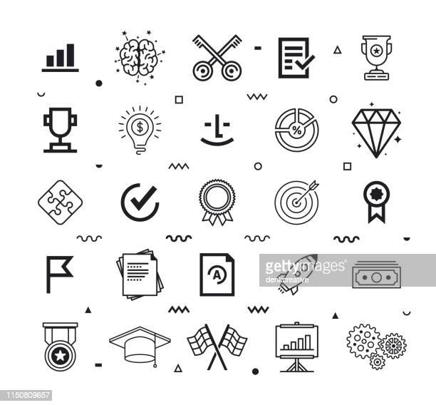 contributions & achievements line style vector icon set - life events stock illustrations
