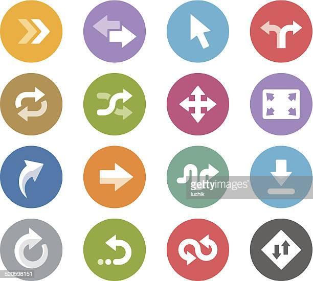 ilustrações, clipart, desenhos animados e ícones de controle arrows/wheelico ícones - misturando