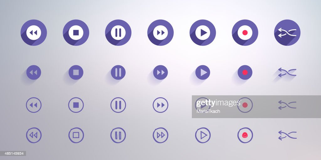 Control buttons set for user interface