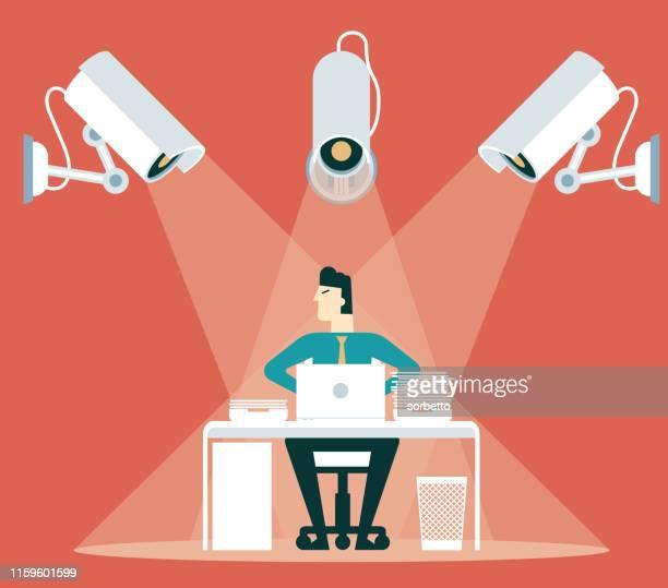 control - cctv - businessman - big brother orwellian concept stock illustrations, clip art, cartoons, & icons