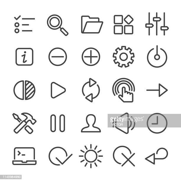 control icons set - smart line series - contrasts stock illustrations