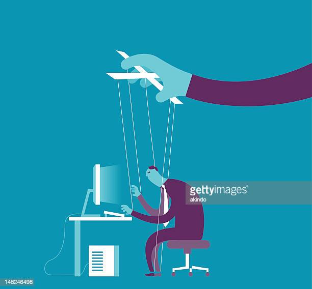 controlling business puppet concept - actor stock illustrations