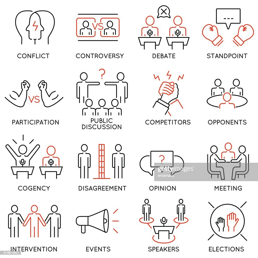 Controversy, discussion and competition icons