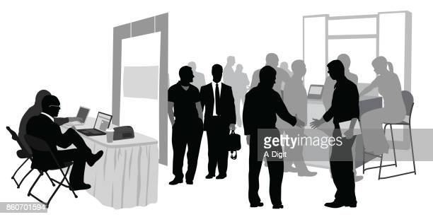 convention booths - job interview stock illustrations, clip art, cartoons, & icons