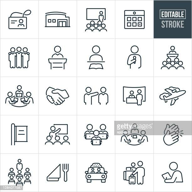 convention thin line icons - editable stroke - attending stock illustrations