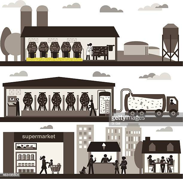conventional dairy production - ordering stock illustrations, clip art, cartoons, & icons