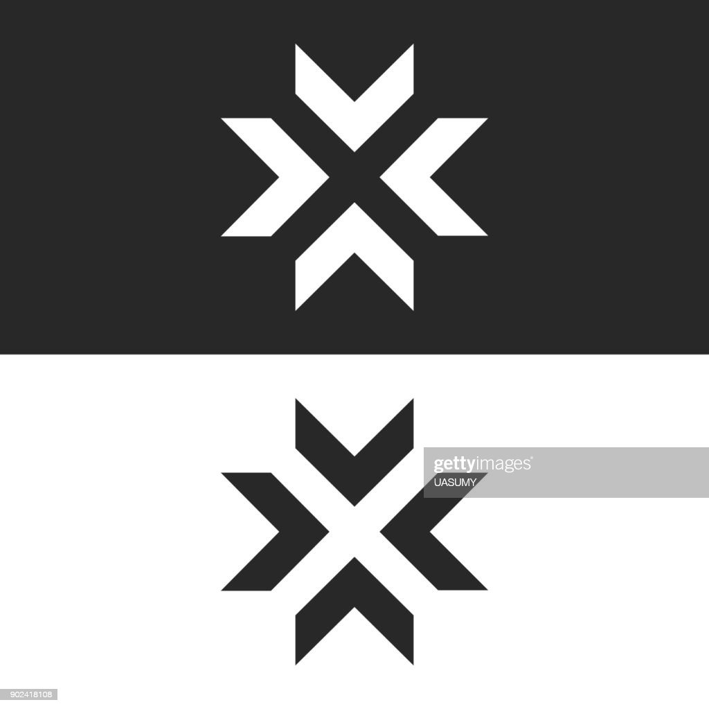 Converge arrows  mockup, letter X shape black and white graphic concept, intersection 4 directions in center crossroad creative resize icon