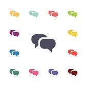 conversation flat icons set