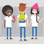 Conversation. Front and rear views of teenagers at school corridor. Multiracial friends. Millennials at school. Generation z / flat editable vector illustration, clip art