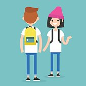 Conversation. Front and rear views of teenagers / flat editable vector illustration, clip art