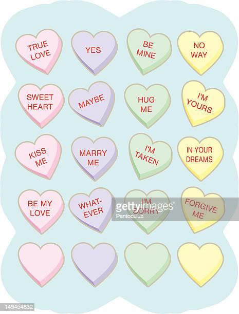 ilustraciones, imágenes clip art, dibujos animados e iconos de stock de corazones de conversación - golosina