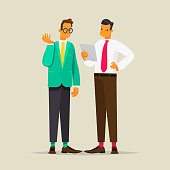 Conversation of two business men. Vector illustration
