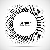 Convex distorted black abstract vector circle frame halftone dots symbol emblem design element for new technology pattern background. Round border Icon using halftone circle dots raster texture.