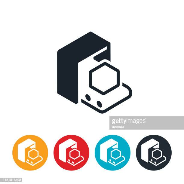 conveyor belt icon - security scanner stock illustrations