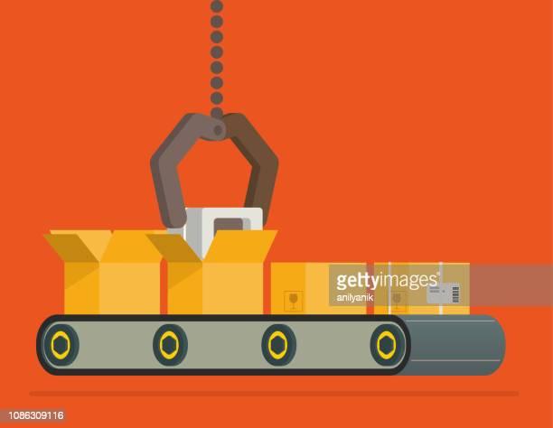 conveyor belt - metallic belt stock illustrations