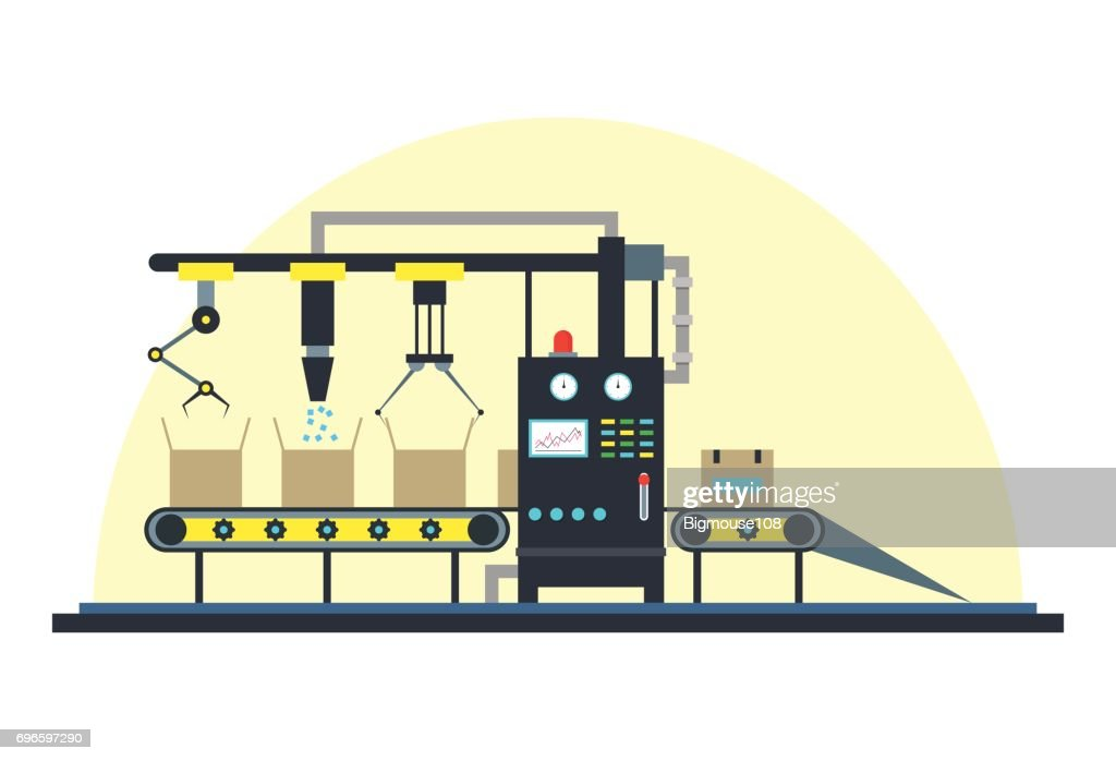 Conveyor Machine Fully Automatic Production Line. Vector