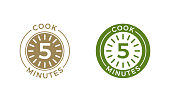 Cook 5 minutes clock icon cereal and pasta cooking