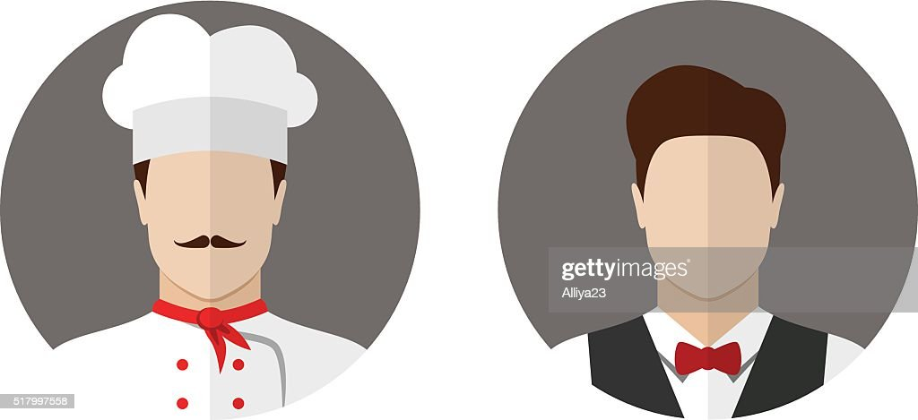 Cook and waiter icons