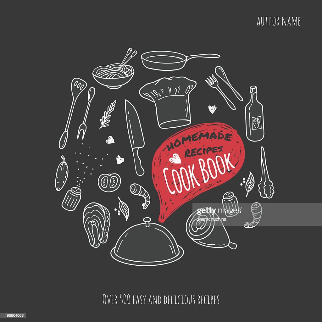 Cook book cover with hand drawn food illustrations. Culinary background