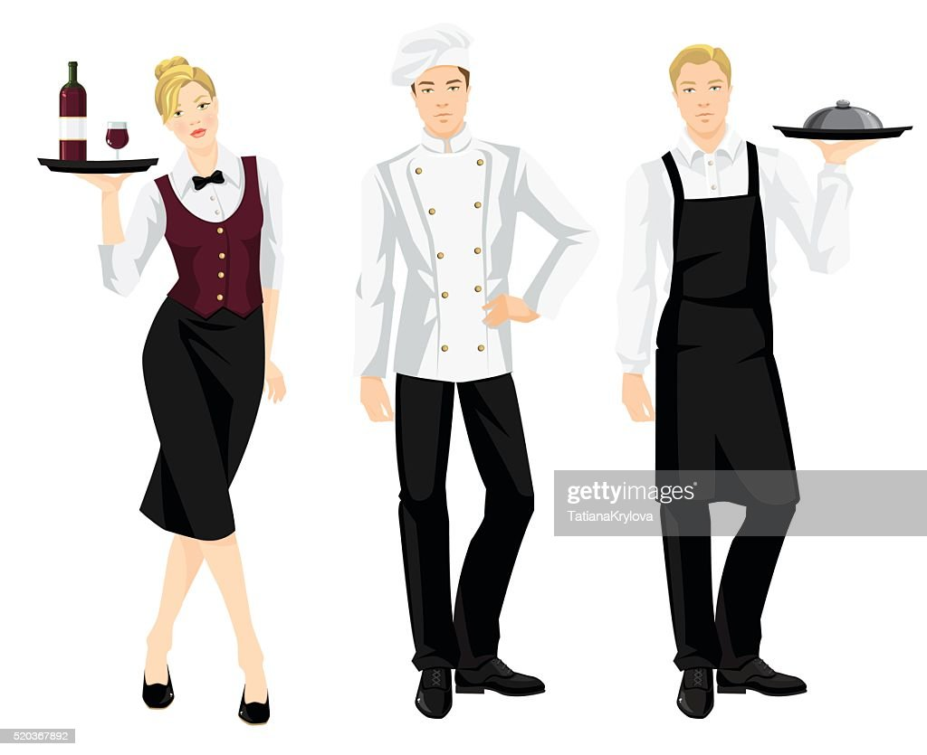 cook chief, cook and waitress in formal clothes