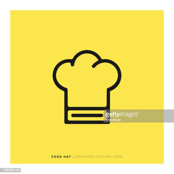ilustrações, clipart, desenhos animados e ícones de cozinhar o ícone de linha arredondada de chapéu - chef de cozinha